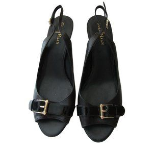Cole Haan Black Leather Slingbacks Size 10B
